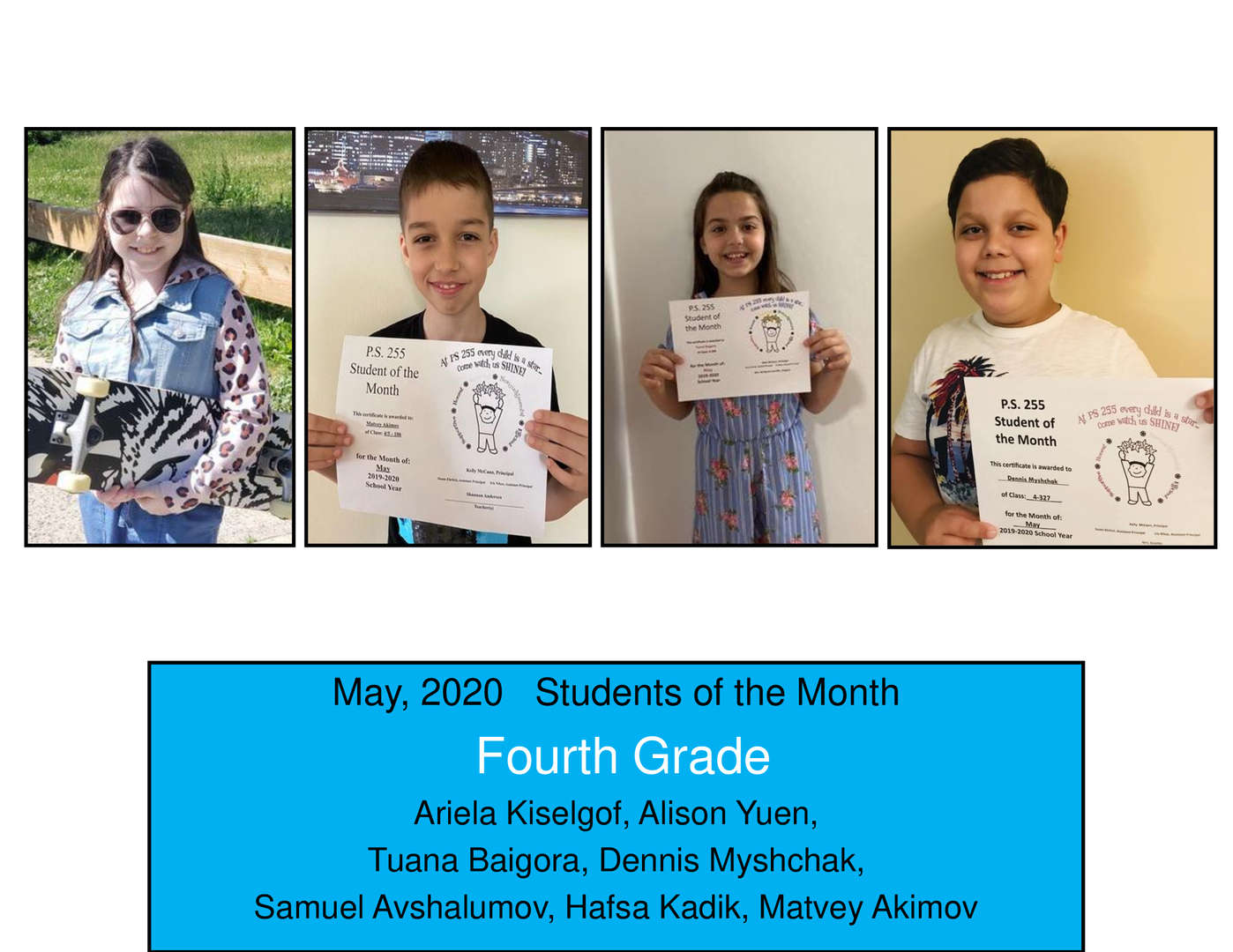 May Student of the Month Grade 4