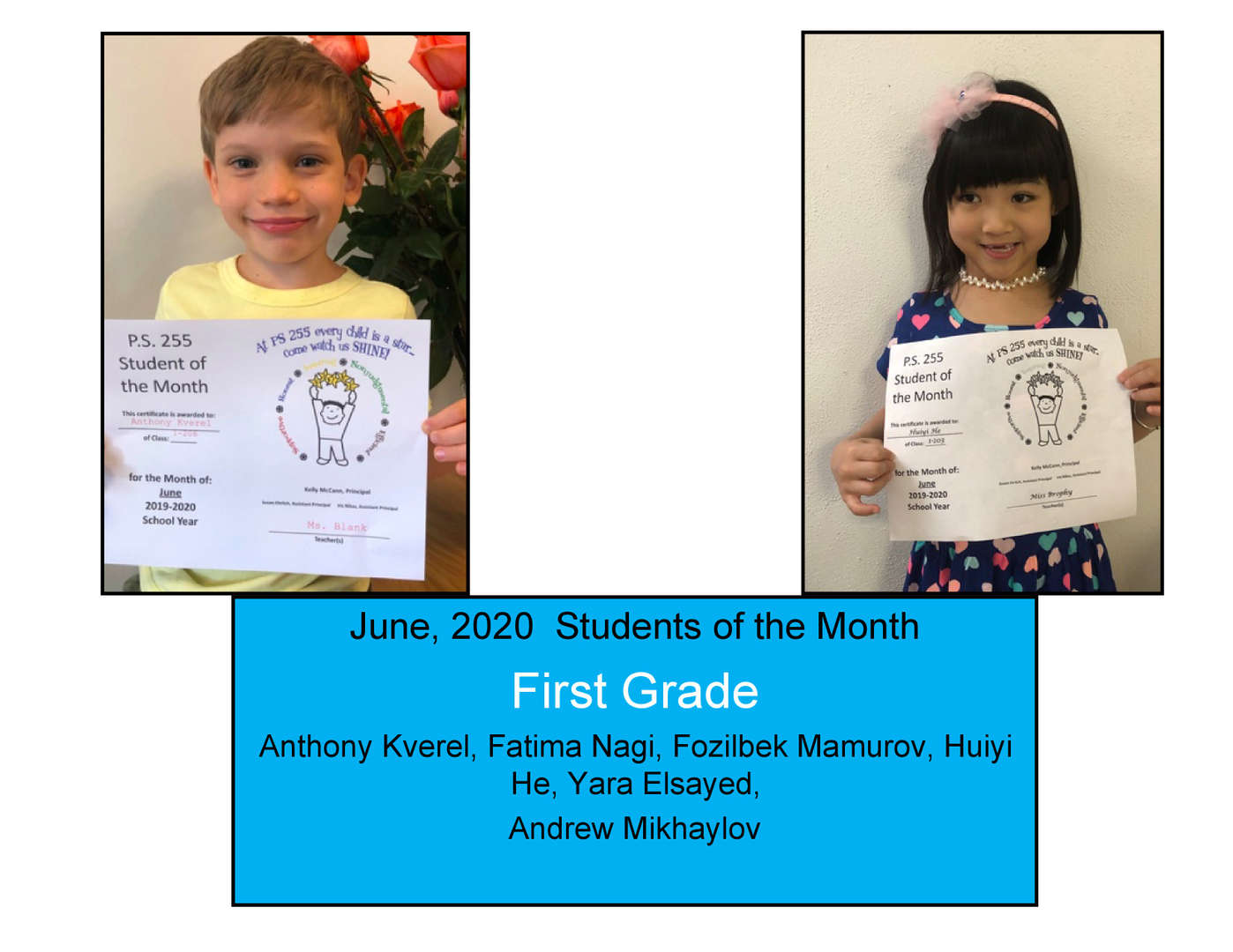 Two smiling students of the month