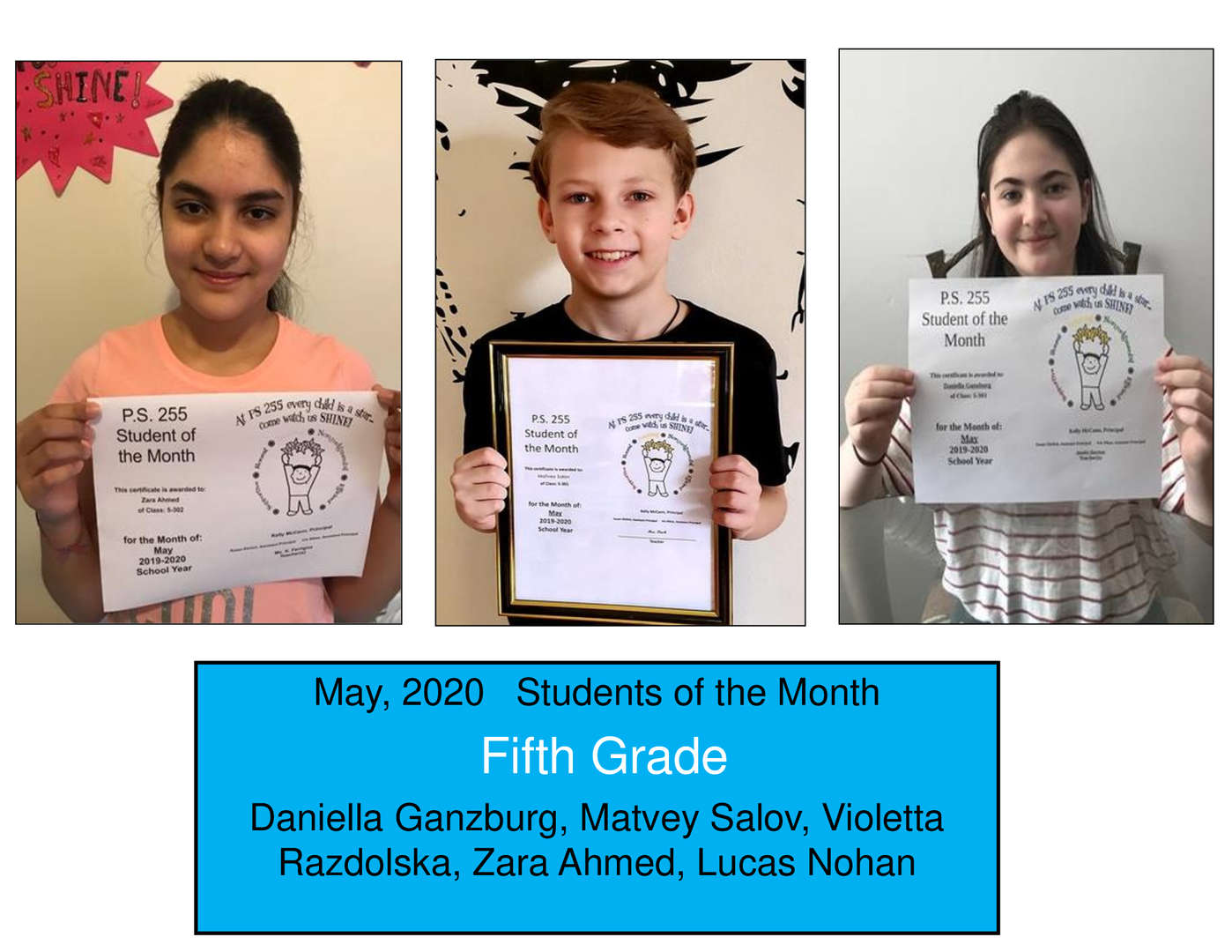 Three Smiling May Student of the Month Grade 5