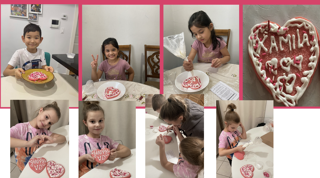 collage of pictures showing a child and her cookies