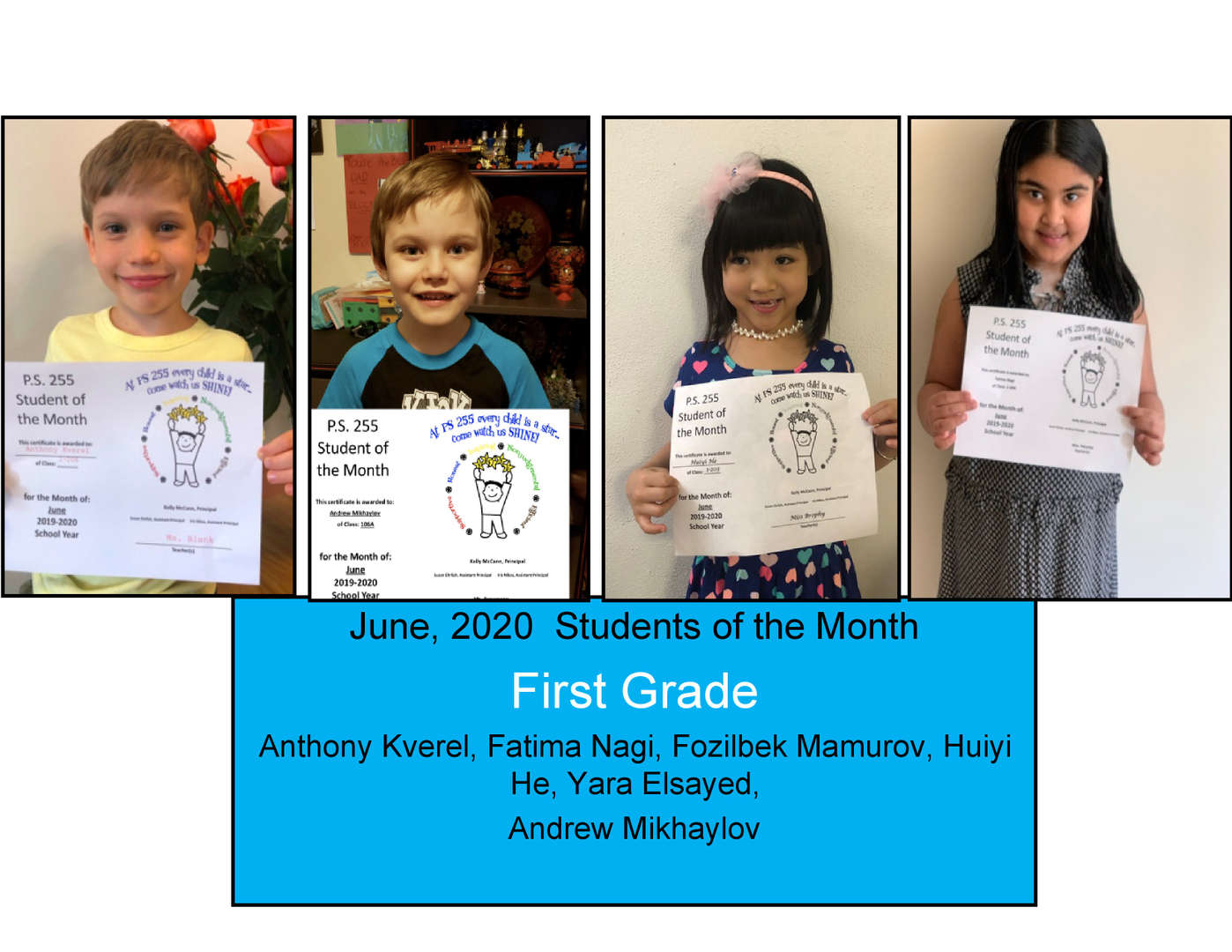 June Student of the Month Grade 1