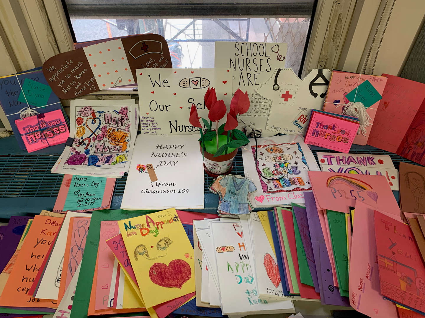 A display of thank you cards for nurses