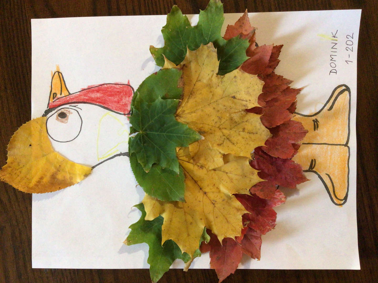 Turkey disguise with real leaves