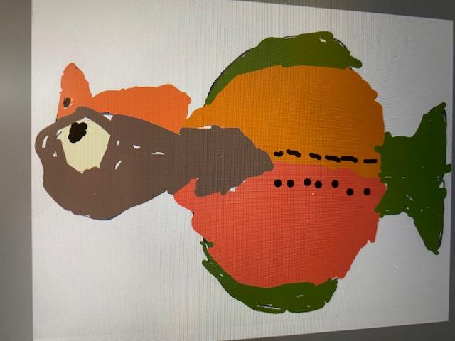 Brown turkey with orange shirt and green feet