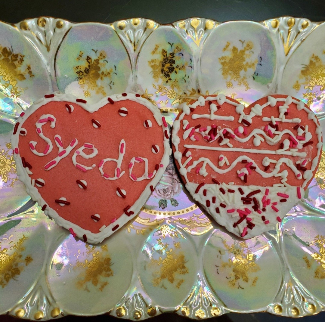 two heart decorated cookies