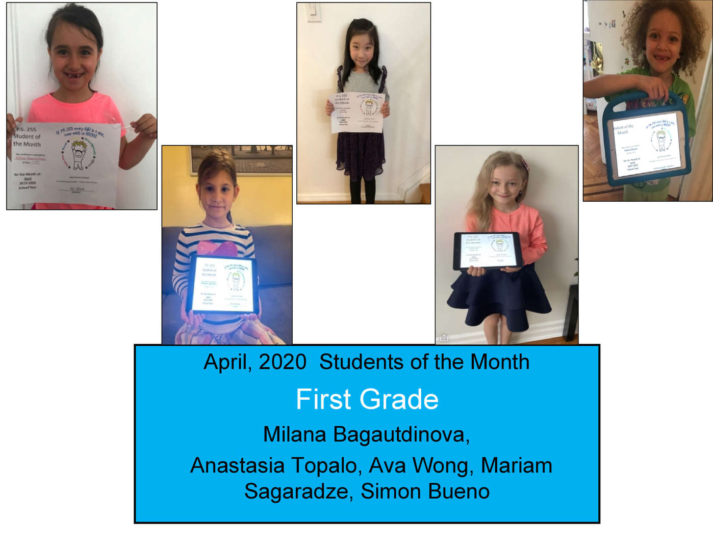 April Student of the Month Grade 1