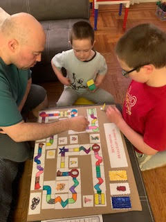 the family places the board game