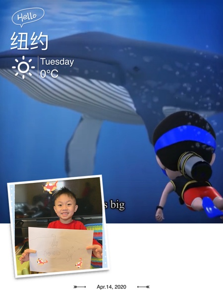 a whale with a boy