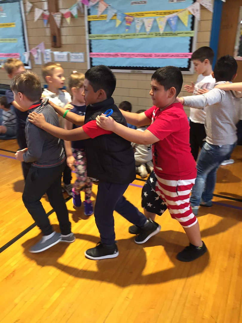 Students form a dance line!