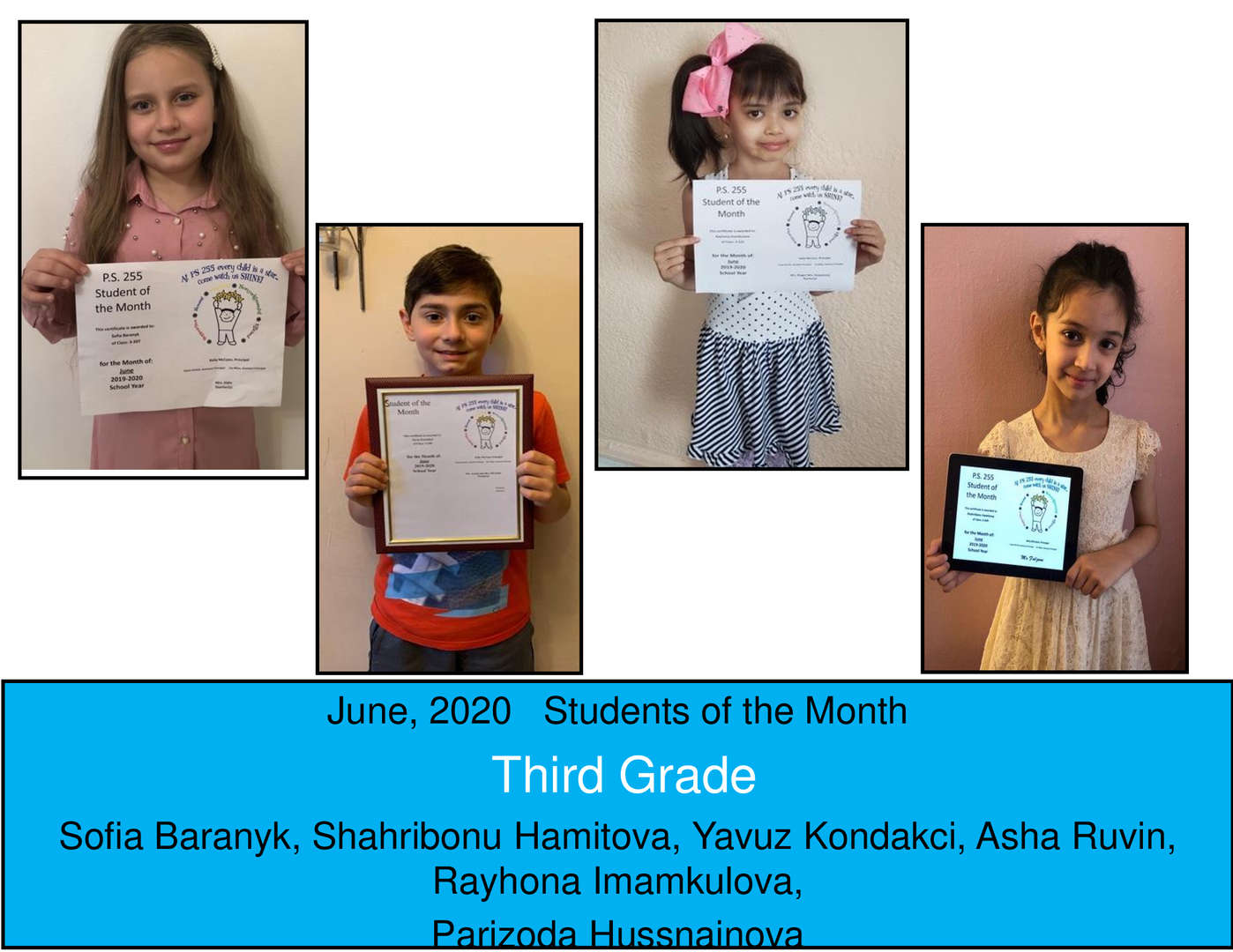 June Student of the Month Grade 3