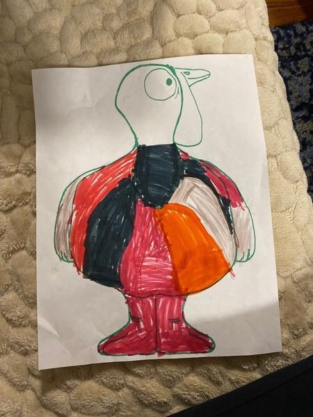 Orange, black and red turkey