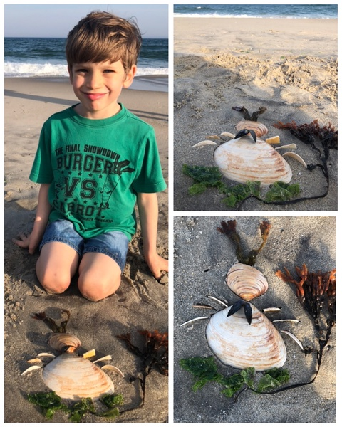 a child sits at the beach making pictures in the sand