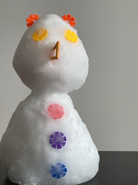snowman with colorful buttons
