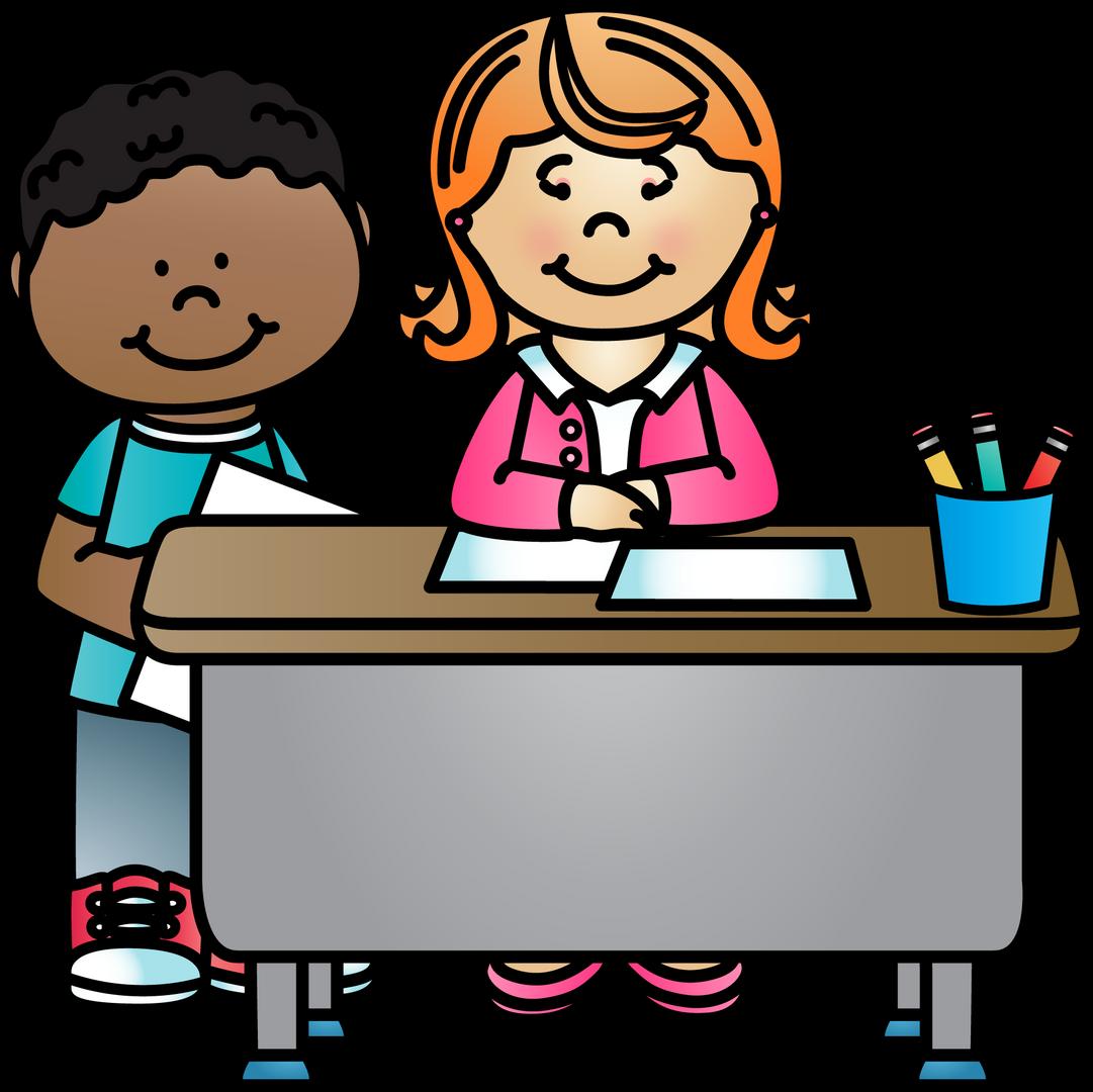 teacher sitting at desk near child