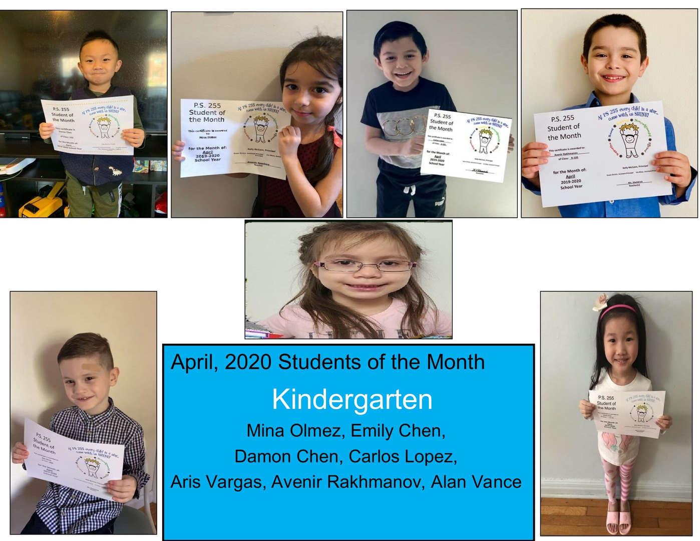 April Student of the Month Kindergarten