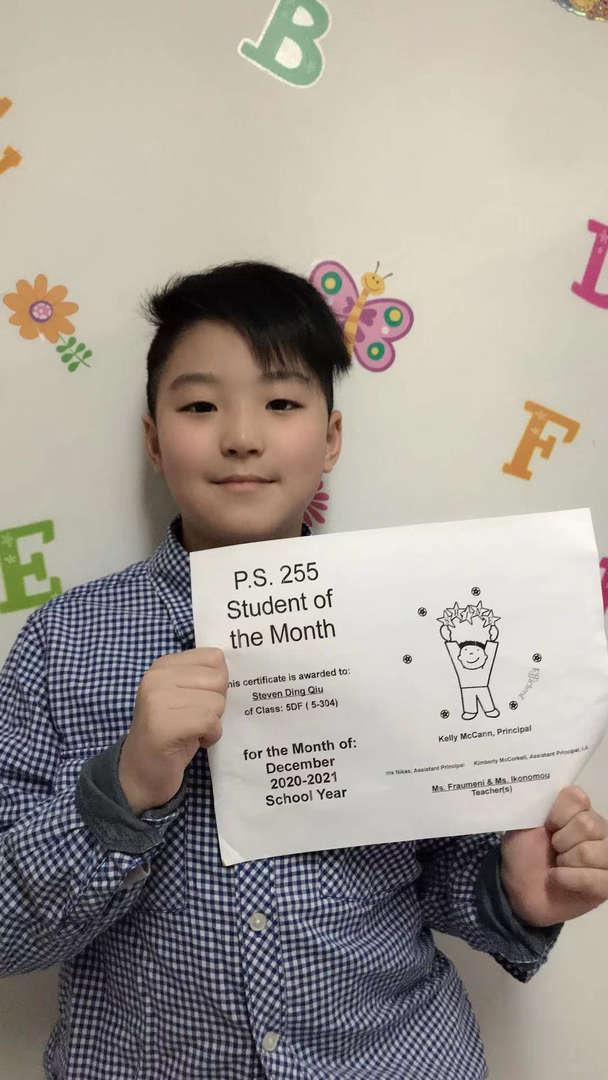 Steven December Student of the Month