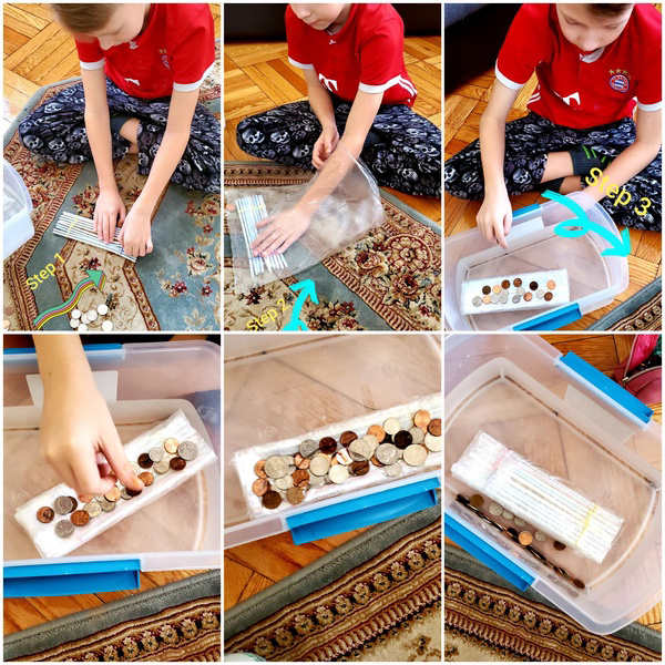 multiple pictures of the child completing his experiment