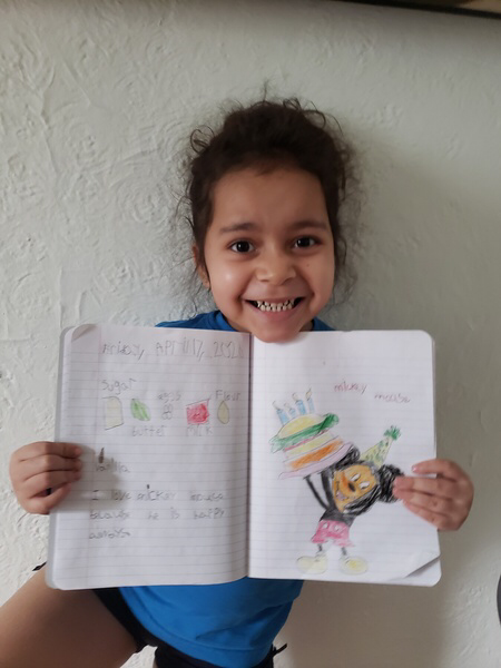 super big smile and notebook