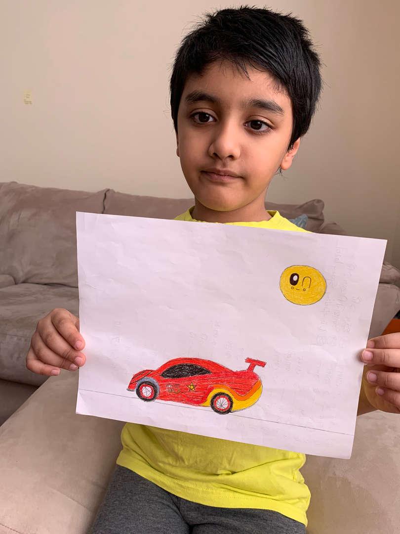 child drawn racer
