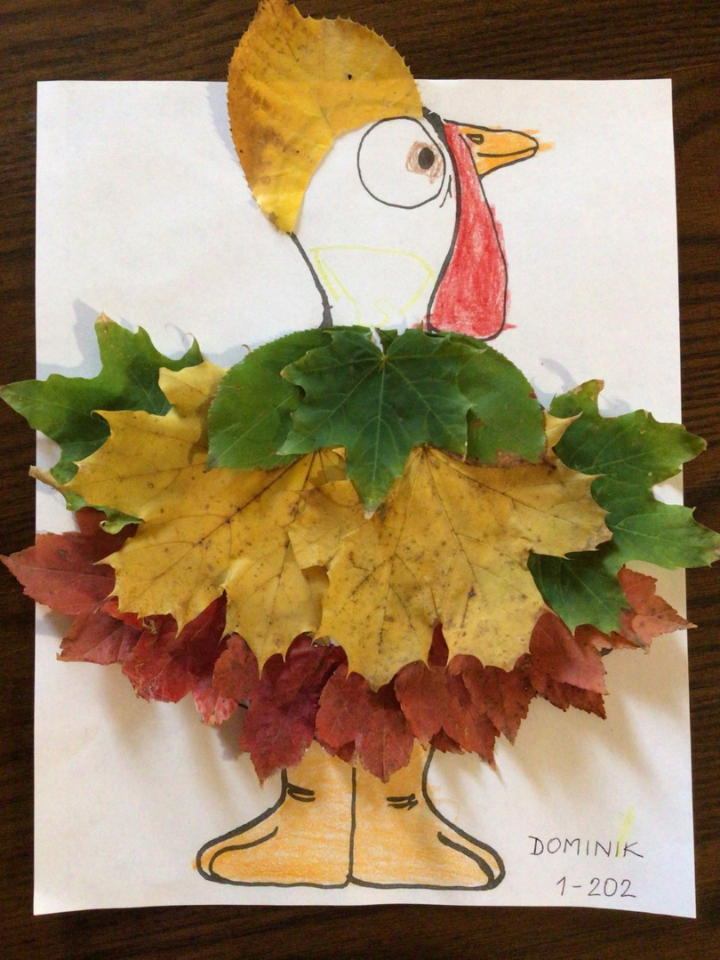 Green, brown and tan leaves covered turkey