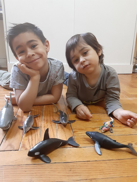 two boys lay on the floor with the fish