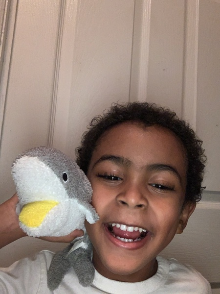 the boy holds a small stuffed animal