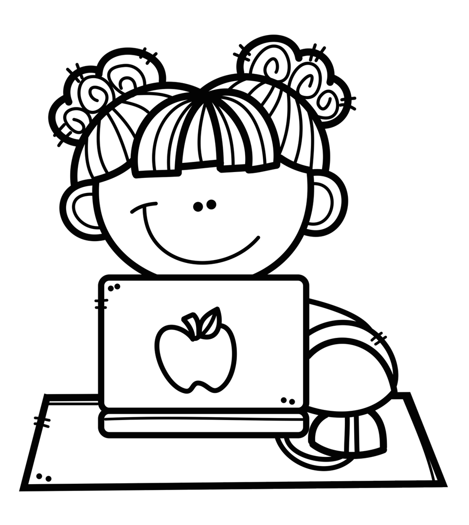 black and white drawing girl on computer