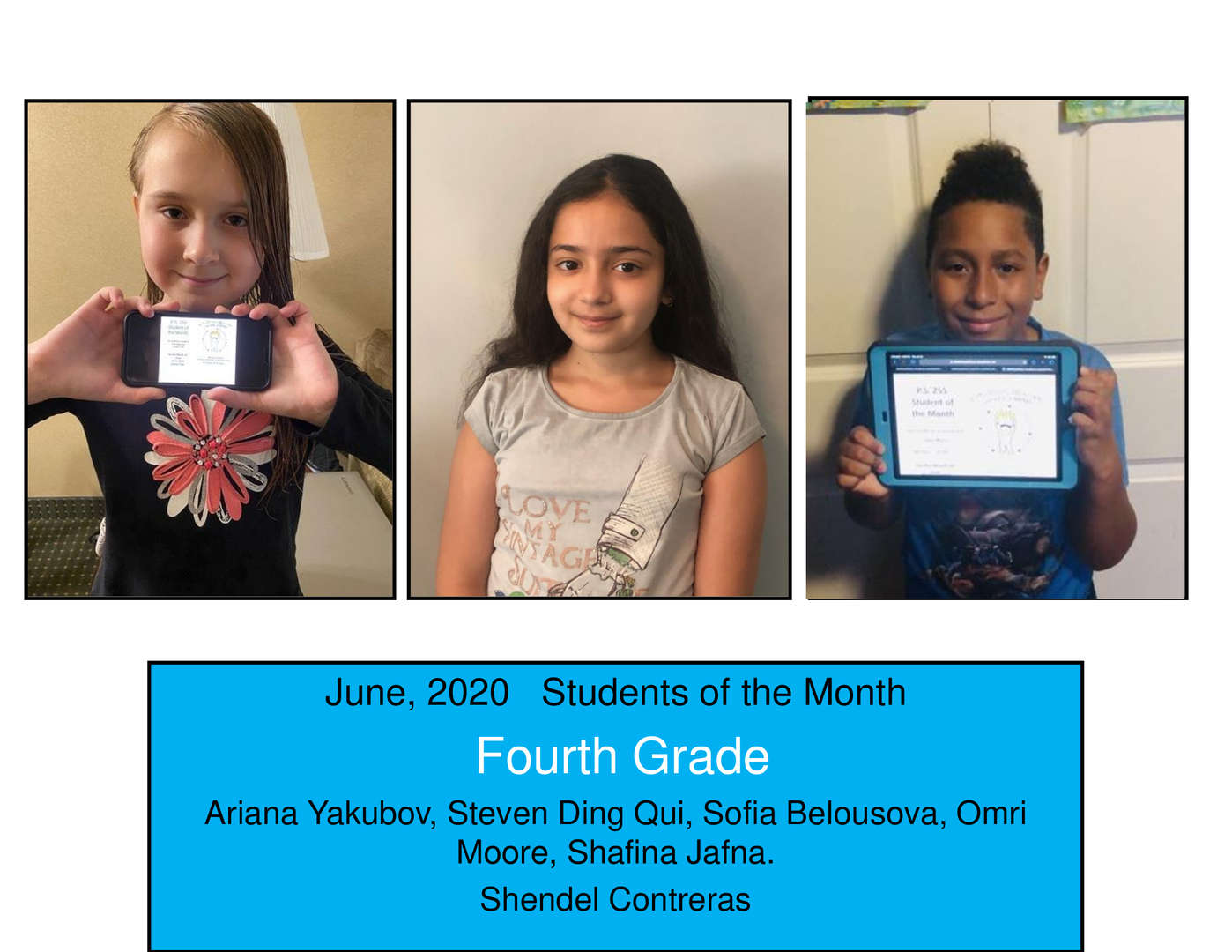 June Student of the Month Grade 4