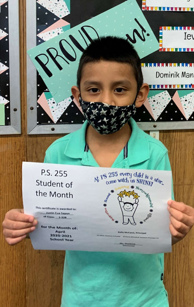 Justin April Student of the Month