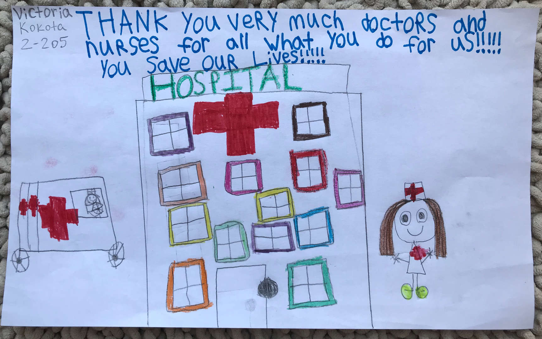 child thanks a hospital for their work