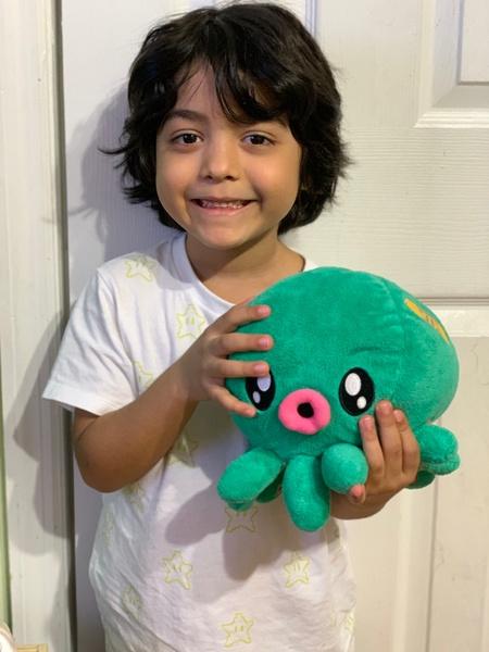 boy holds stuffed octopus