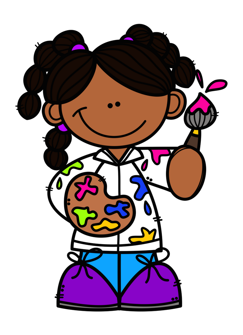 cartoon girl holding paint brush and paint palette