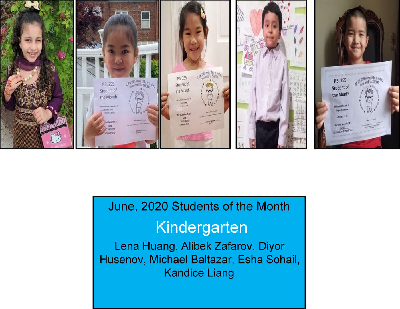 Kindergarteners Smiling in June for student of the month
