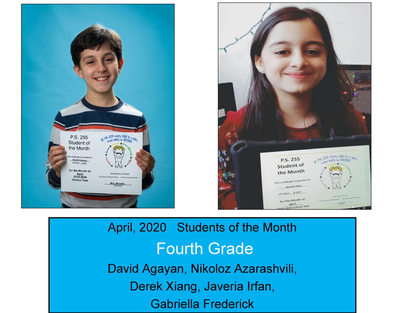 April Student of the Month Grade 4