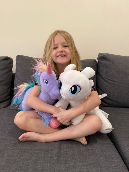 the girl hugs two stuffed animals