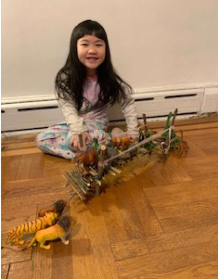 dinosaurs cross the wooden bridge on the wooden floor
