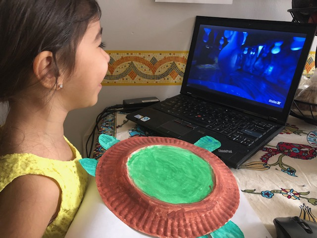 paper plate turtle, girl and computer