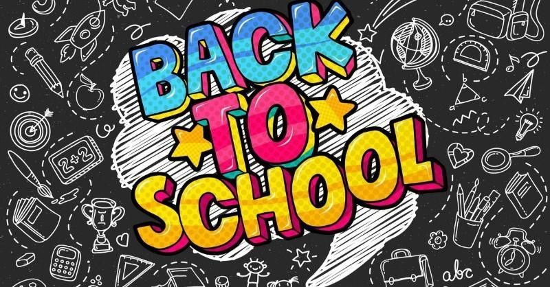 back to school in colorful text with black and white doodles behind
