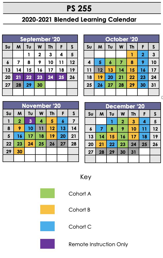 Cohort calendar for September through December.