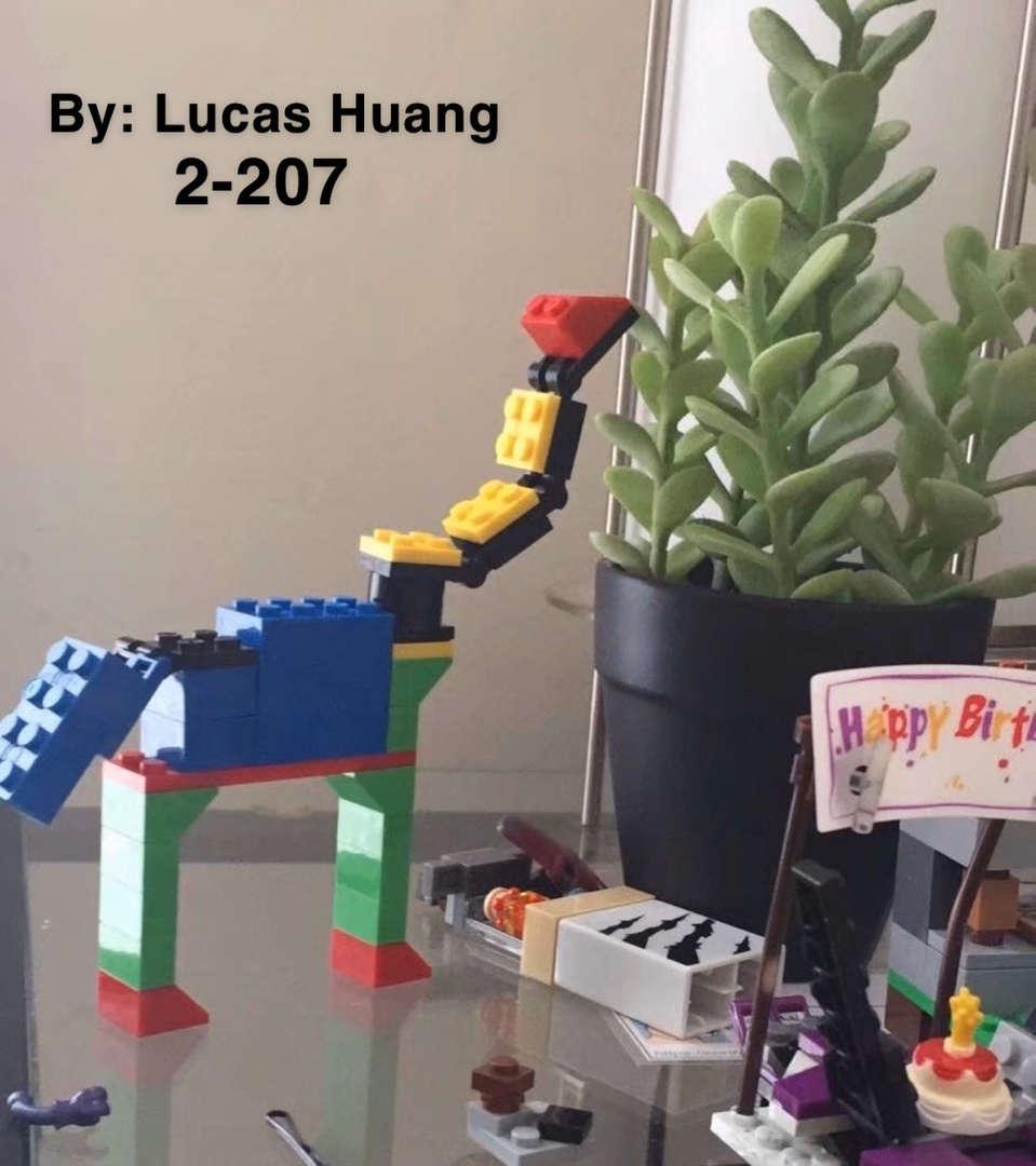 Student made a dinosaur using Legos