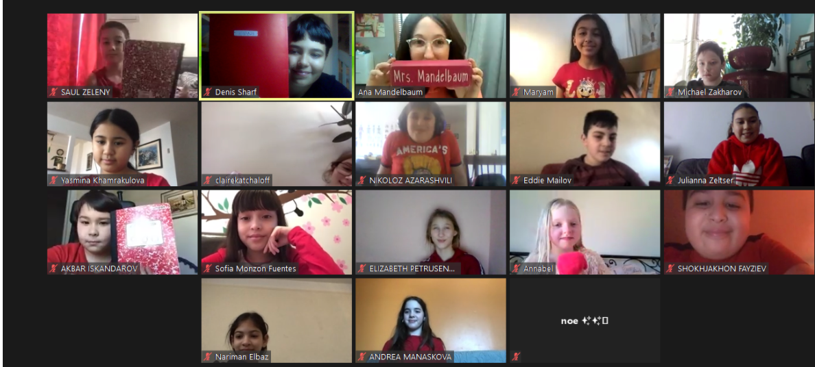 5th grade class wears red on zoom