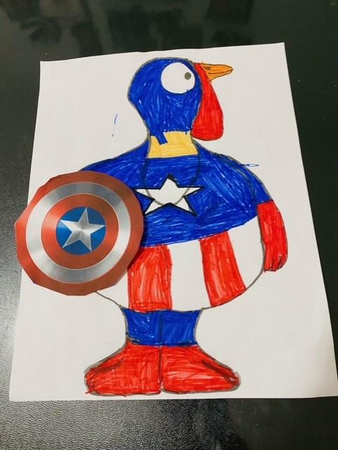 Turkey with Captain America shield