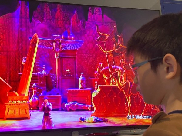 boy watches the play on tv