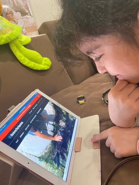Student enjoying his virtual trip