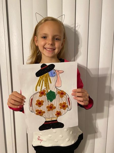 Turkey with flower shirt