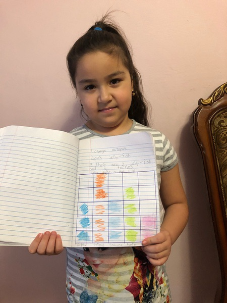 girl shows her work in her notebook