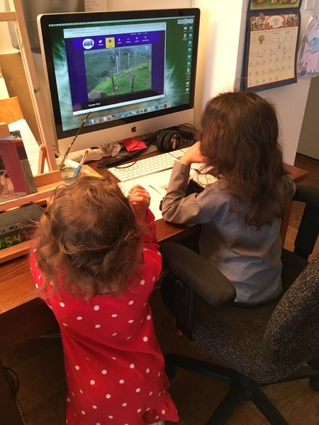 two children work together on the computer