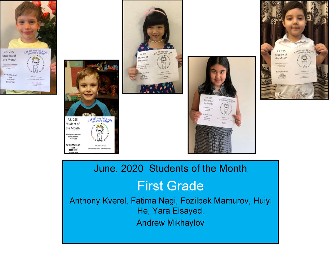 More smiling students June Student of the Month Grade 1