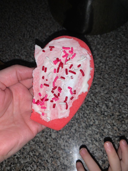 half of a heart cookie decorated