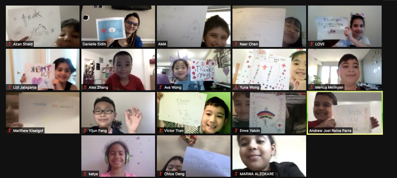 students on zoom show us their thank you cards